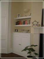 Fited alcove cabinet with 2 low floating shelves. Alcove Cupboards, Built In Cupboards, White Shelves, Floating Shelves, Georgian Interiors, Tall Cabinet Storage, Shelving, Bookcase, Alcoves