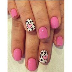 Ideas for Short Nails: pink heart and polka dots