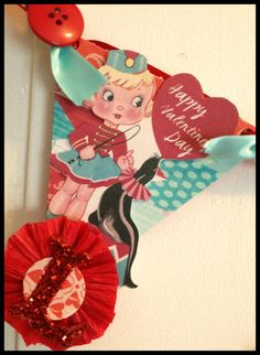 Adorable vintage inspired banner for valentin's day