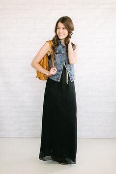 black maxi dress   denim vest