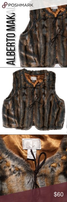 Alberto Makali Faux Fur vest s Leather tie closure  Shoulder to shoulder 15 in  Bottom of collar to hem 19 in  Across waist 42 in   Armpit to armpit 44 in  Comes from a smoke free animal free home.  If you have any questions feel free to ask!  Thank you for visiting my shop take a look around! Alberto Makali Jackets & Coats Vests