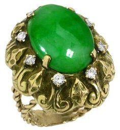 1940s Cabochon Jade  Diamonds  Ring