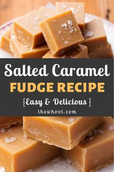 Salted Caramel Fudge Recipe Video Instructions The WHOot Caramel Au Nutella, Fondant Au Caramel, Nutella Fudge, Salted Caramel Fudge, Caramel Fudge Recipe Condensed Milk, Salted Caramels, Easy Caramel Candy Recipe, Recipes With Condensed Milk, Condensed Milk Desserts