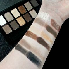 Swatches of the original Maybelline The Nudes palette