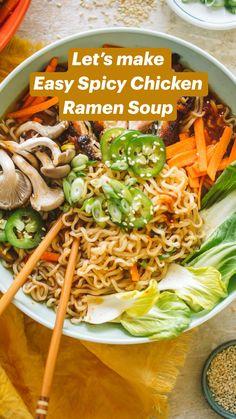 Healthy Ramen, Healthy Asian Recipes, Vegetarian Recipes, Healthy Eating, Healthy Noodle Recipes, Asian Dinner Recipes, Soup Recipes, Chicken Recipes, Cooking Recipes