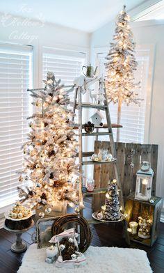 Rustic White Cottage Christmas | flocked trees, mercury glass, new and vintage mix. #Christmasdecoratingideas #homegoodhappy #sp