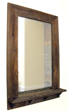 1000 images about barn board mirrors on pinterest framed mirrors barn wood and decorative knobs for Wooden bathroom mirror with shelf