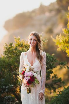 The Vault: Curated & Refined Wedding Inspiration - Style Me Pretty Black Bridesmaid Dresses, Bridal Dresses, Wedding Gowns, Wedding Flowers, Wedding Hair, Lace Wedding, Perfect Wedding, Dream Wedding, Lace Dress With Sleeves