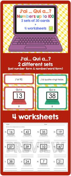 """Practice numbers up to 100 - 2 sets of """"J'ai... Qui a...?"""" + 4 worksheets"""