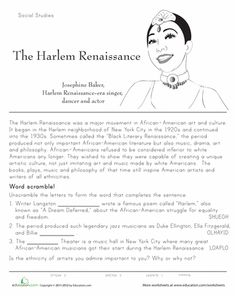 harlem renaissance lesson plans worksheets printables social studies lesson plans. Black Bedroom Furniture Sets. Home Design Ideas