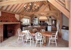 oak framed kitchen on period oak framed house Border Oak, Oak Framed Buildings, Oak Frame House, Cottage Interiors, Garages, Offices, Flooring, Gallery, Fresh Bread