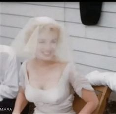 Marilyn at her wedding to Arthur Miller, July 1, 1956. Footage by Milton Greene.