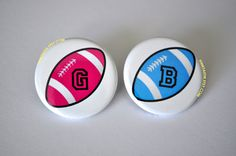 Gender Reveal Buttons Football Baby Shower Football by PINKTASTIK