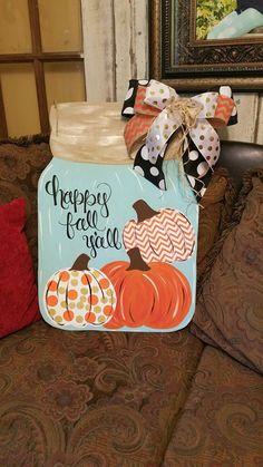 best ideas for fall door hangers wooden mason jar Fall Mason Jars, Mason Jar Crafts, Mason Jar Diy, Burlap Mason Jars, Fall Door Hangers, Burlap Door Hangers, Wooden Pumpkins, Dollar Tree Crafts, Wood Cutouts