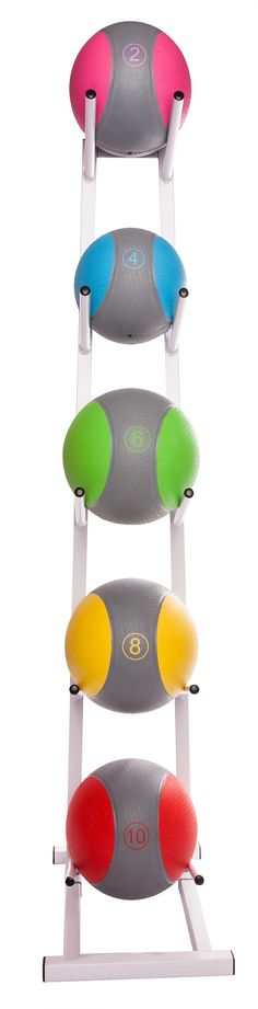 """MEDICINE BALL RACK. Stores up to 5 medicine balls Assembly required. 14"""" L x 11"""" W x 52"""" H. #fitness"""
