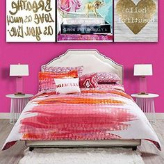 Red Orange Pink Purple Artist Canvas Themed Duvet Cover Twin XL Set Contemporary Glam Large Paint Brush Stroke Bedding Sunrise Sunset Colors Theme Pattern Cotton