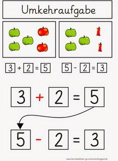 Umkehraufgaben - Best Education World Teaching First Grade, 1st Grade Math, Kindergarten Math, Teaching Math, Maths, Math Worksheets, Math Activities, Music Education, Kids Education