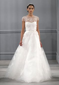 A-line wedding dress with illusion neckline and tulle skirt I Style: Illusion I by Monique Lhuillier I http://knot.ly/6498BIWf0