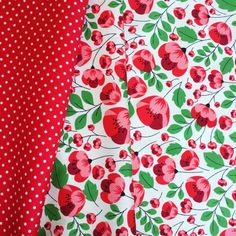 Red and white pretty Rose and Hubble summer poppy 100% quality  cotton fabric by HALF METRE