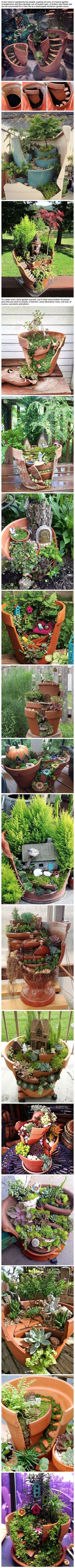 Broken Pots Turned Into Beautiful Fairy Gardens. Broken pots turned into beautiful fairy gardens. Mini garden of broken pots from Chapel Hill WedBroken black pot fairy gardenA wise woman never raises broken pots Succulents Garden, Garden Pots, Fairy Pots, Succulent Ideas, Bottle Garden, Pot Jardin, Beautiful Fairies, Beautiful Gardens, Miniature Fairy Gardens