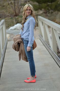 striped shirt + jeans + bright shoes + pearls + camel