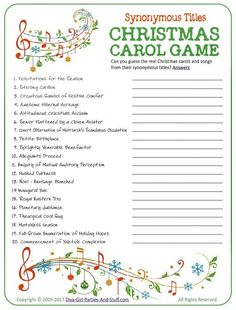 Printable Christmas Carol Game - Guess the popular Christmas carols and songs from their synonymous titles