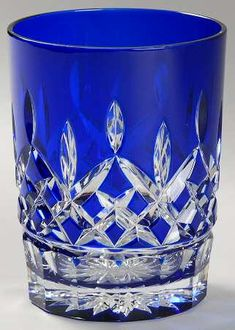 Waterford Lismore cobalt blue crystal double old fashioned glass #cobalt