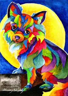 Long Haired Chihuahua DOG Print from Artist Sherry Shipley Long Haired Chihuahua, Chihuahua Love, Colorful Animals, Rainbow Art, Arte Pop, Dog Paintings, Print Artist, Art Pictures, Pin Up