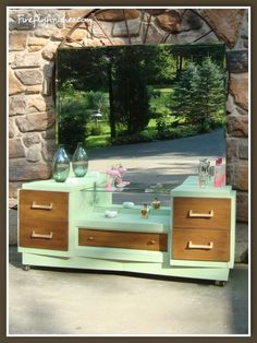 Unique MCM vanity with a fresh green frame finish.