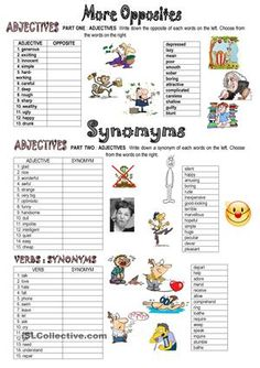 This is the second part of my series on opposites and synonyms. There are matching exercises and a wordsearch. It is useful to revise adjectives and verbs. Hope you'll find it useful too - ESL worksheets