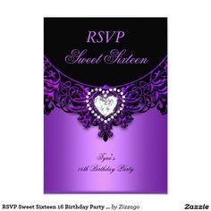 RSVP Sweet Sixteen 16 Birthday Party Purple Black 3.5x5 Paper Invitation Card
