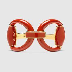 Gucci Women - Horsebit bracelet in red enamel - Gucci Bracelet, Gucci Jewelry, Red Jewelry, Enamel Jewelry, Luxury Jewelry, Women Jewelry, Jewellery, Gucci Horsebit, Silver Bracelets
