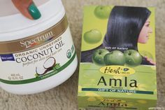 How to grow hair fast and naturally using only TWO ingredients! Amla powder and coconut oil! My hair grew so fast in only two months! Coconut Oil Hair Treatment, Coconut Oil Hair Growth, Coconut Oil Hair Mask, Coconut Oil For Skin, Amla Powder Hair, Amla Hair Oil, Amla Oil, Grow Natural Hair Faster, Natural Hair Care