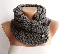 Hand Knitted Scarf, Neckwarmer, Button Cowl Scarf, Chunky Knit Neck Warmer, Mens, Womens, Charcoal Grey