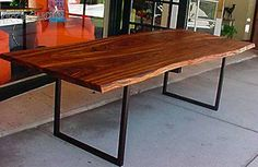 African Walnut Wood Table with Organic Edges and Metal Base Special Order- 6-8 Week lead time.
