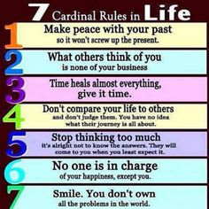 7 Cardinal Rules in Life...via www.9quote.com