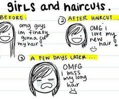 Story of my life! Every time I get my hair to a good long length, I get bored and chop it all off and then regret it lol