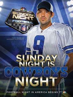 TONY ROMO #9 QB DALLAS COWBOYS -- SUNDAY NIGHT FOOTBALL