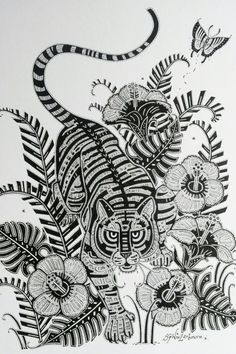 """Making of Matthew Williamson Hibiscus Tiger Print T-shirt. """"I always start off by sketching in pencil before my pen work. I can then get the correct structure of the design, because once you start with the ink you can't go back. The overall design took me just under two weeks to complete."""" - Samuel Winterbourn"""