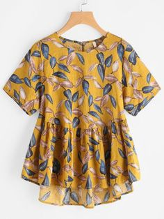 Shop Leaf Print Keyhole Back Dip Hem Smock Blouse online. SheIn offers Leaf Print Keyhole Back Dip Hem Smock Blouse & more to fit your fashionable needs. T-shirts Blouses & Shirts Outerwear Knitwear Intimates Over 50 Womens Fashion, Fashion Over 50, Mode Top, Blouse Online, Summer Shirts, Short Sleeve Blouse, Long Sleeve, Shirts For Girls, Diy Clothes