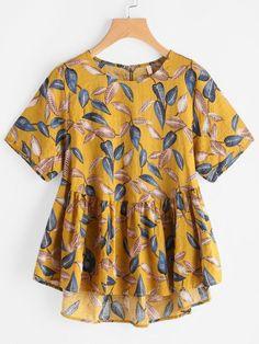 Blusa de espalda con abertura con estampado de hojas
