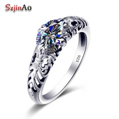 Szjinao 925 Silver Ring Vintage Style Zircon Pattern Crystal Ring Satisfyer Cool Jewelry Women Engagement Ring Processing Custom #Affiliate