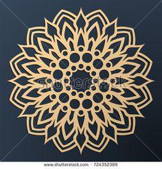 Laser cutting mandala. Golden floral pattern. Oriental silhouette ornament. Vector coaster design. Mandala Tattoo Design, Mandala Art, Mandala Meditation, Wood Carving Designs, Rainbow Paper, Coaster Design, Simple Illustration, Diy Tattoo, Pointillism
