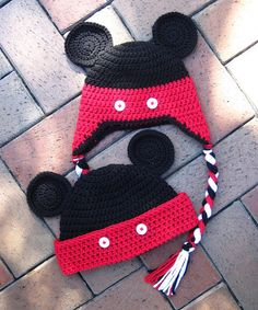 Mickey Mouse Crochet Hat PDF - Instructions to make a beanie or earflap hat in 6 sizes from newborn to adult - Instant Digital Download via Etsy