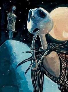We're Simply Meant to Be Jack Skellington Nightmare Before Christmas Giclee on Canvas by Jim Salvati captures Jack and Sally together. Samhain, Jack Y Sally, Jack The Pumpkin King, Tim Burton Art, Burton Burton, Disney Fine Art, Sally Nightmare Before Christmas, Illustrations, Jack Skellington