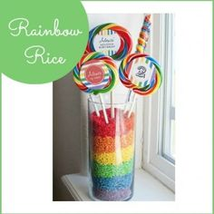 How to make Rainbow Rice - colored rice for decoration and fun Bet this would be useful for wedding decorations too...