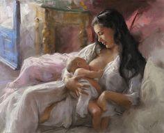 Maternidade - Desenho com Giz Pastel de Vicente Romero Redondo - Espanha