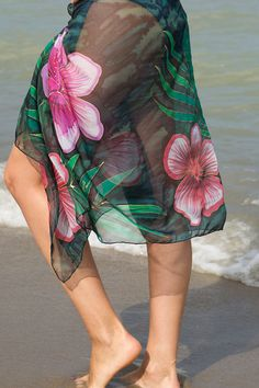 Elegant Hand Painted Silk Chiffon Scarf Pareo Wrap by LigaKandele