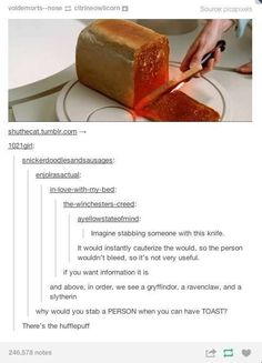 Gryffindor, Ravenclaw, Slytherin, Hufflepuff, a toasting knife Harry Potter Fandom, Harry Potter Memes, Potter Facts, Harry Potter Houses, My Tumblr, Tumblr Posts, Ridiculous Harry Potter, The Nerd, Books