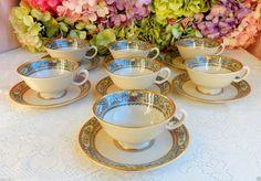 7 Beautiful Lenox Porcelain Cups Saucers ~ Autumn ~ Enameled Fruit Flowers Gold #Lenox